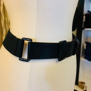 Tory Burch Accessories - Tory Burch Black Leather and Fabric Belt Small